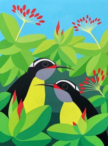 Bonaire schilderij: Barika hel (3) Suikerdiefjes