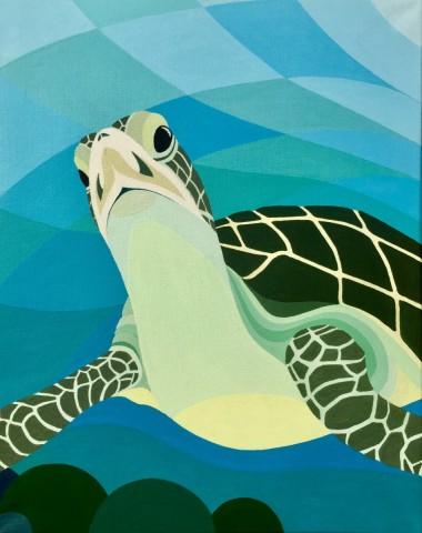 Bonaire schilderij: Tortuga, de zeeschildpad