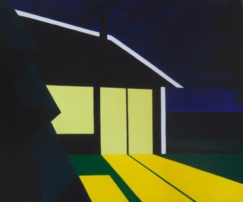 Nederlands landschap schilderij: huisje 114