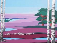 Drie keer hei (1) schilderij 'Dwingelderveld 1', acryl op doek, 60x80 cm